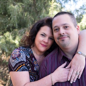 In this portrait, Kim and Dan are looking happy in San Rafael Park.